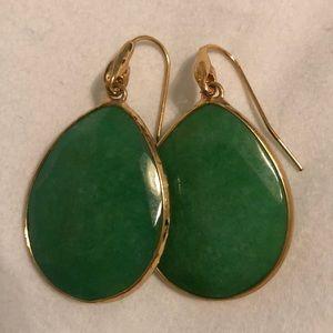 Green & gold tear drop earrings